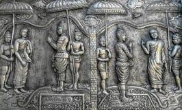 雕刻银 银色样式雕刻在墙壁临时雇员的设计 免版税图库摄影