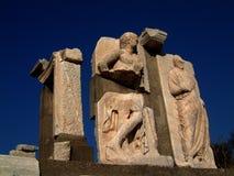 雕刻ephesus破坏石头 免版税库存图片