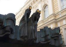 雕塑三谬斯(谬斯的节日),剧院,维尔纽斯,立陶宛 免版税库存照片