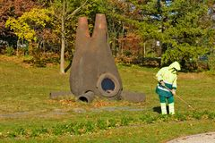 雕塑在阿里纳公园日内瓦,瑞士 免版税库存图片