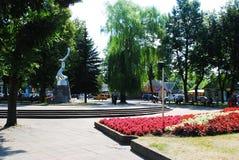 雕塑在Anyksciai市中心广场 库存图片