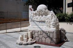 雕塑在Baska老城镇- Krk克罗地亚 库存照片