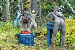 雕塑在Parikkala雕塑公园,芬兰 免版税库存照片