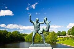 雕塑在Vigeland公园奥斯陆挪威 库存照片