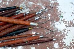 雕塑工具。 免版税库存照片