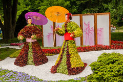 雕塑由装饰和花制成在日本式 库存照片