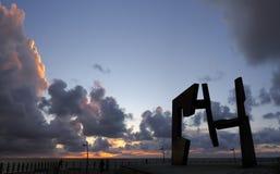 雕塑豪尔赫Oteiza Construccion Vacia (Donostia)。 免版税库存照片