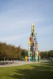 雕塑,人塔 免版税图库摄影