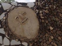 雕塑,假山花园昌迪加尔的面孔 库存图片