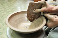 雕塑黏土 手工制造罐 E 库存图片