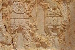 雕塑细节在扇叶树头榈寺庙区域在叙利亚 库存照片