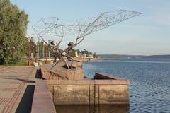 雕塑Fishermens 免版税库存照片