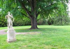 雕象和大树在草坪提供一种飘渺感受给这个公园场面 免版税库存图片