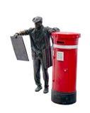 雕象和岗位箱子,被隔绝 免版税图库摄影