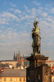 雕象和布拉格城堡 免版税图库摄影