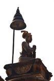 雕象图象Ranjit马拉国王在Bhaktapur Durbar广场 库存照片