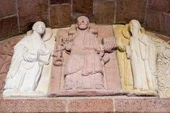 雕象在昂德洛教会,法国里 7月09日2009年法国 库存照片
