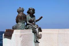 雕象在的里雅斯特,意大利 库存照片
