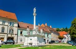 雕象在老镇多瑙河畔克雷姆斯,奥地利 库存照片