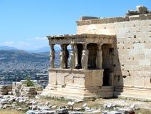 雕象在雅典卫城,希腊 免版税库存照片