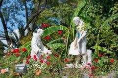 雕象在Tepeyac从事园艺, La别墅de瓜达卢佩河,墨西哥城 免版税库存图片