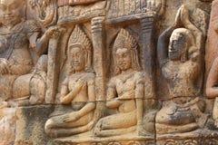 雕象小组吴哥寺庙,柬埔寨 免版税库存照片