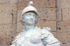 雕象战争,头的上面,在大门Gatchina宫殿 俄国 库存照片