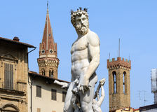 雕象海王星,广场della Signoria,佛罗伦萨(意大利) 免版税库存照片