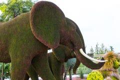 雕象由植物和草本和人做的动物昆虫 免版税图库摄影