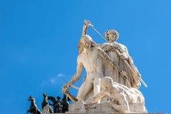 雕象看法在前面,阿尔塔雷della帕特里亚,威尼斯广场,罗马意大利的 免版税图库摄影
