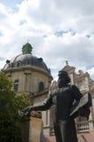 雕象老城市广场的伊冯费多罗夫 免版税图库摄影