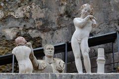 雕象,赫库兰尼姆考古学站点,褶皱藻属,意大利 库存照片