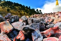 雕刻与塔的西藏阿玛尼石头 图库摄影