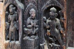 雕刻在加德满都Durbar广场尼泊尔的Hanuman Dhoka 免版税库存图片