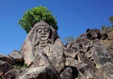 雕刻在圣阿古斯丁考古学公园附近的古老山 免版税图库摄影