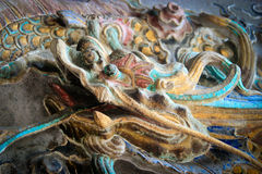 雕刻在寺庙的外部的龙 免版税图库摄影