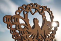 雕刻在斑尾林鸽外面 免版税库存图片