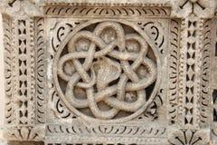 雕刻在石头的古老蛇 免版税库存照片