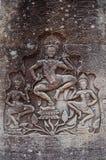 雕刻在吴哥窟暹粒省柬埔寨的Apsara 库存图片