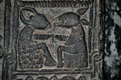 雕刻在Sevanavank亚美尼亚修道院里的石头细节  库存照片