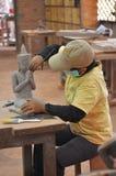 雕刻家做了模型菩萨 免版税库存照片
