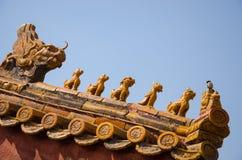 雕刻故宫的屋顶,北京中国 库存照片