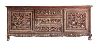 雕刻木内阁的老肌力 免版税库存图片