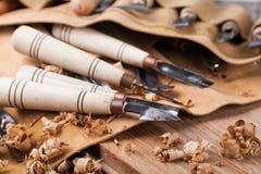 雕刻木的工具 免版税库存照片