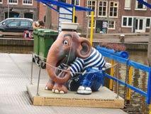 雕刻游船船坞的大象水手在Ams中 库存照片
