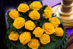 雕刻玫瑰的南瓜被仿造是泰国的全国艺术 库存图片