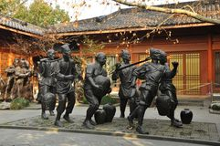 雕刻的小组在杭州 中国 库存照片