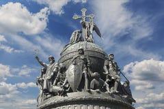 雕刻的构成`千年俄罗斯`在Veliky诺夫哥罗德,片段 图库摄影
