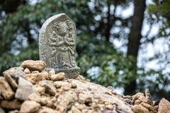 雕刻石头的菩萨在登上Misen -宫岛,日本 库存图片