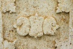 雕刻背景的西班牙殖民地石头 图库摄影